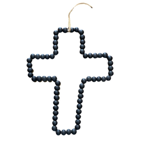 Wood Beaded Cross | Wall Hanging | Black