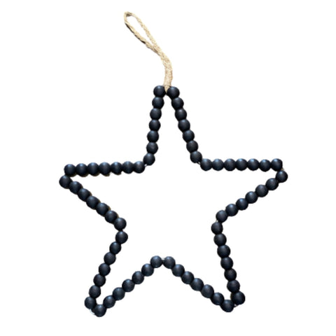 Wood Beaded Star | Wall Hanging | Black