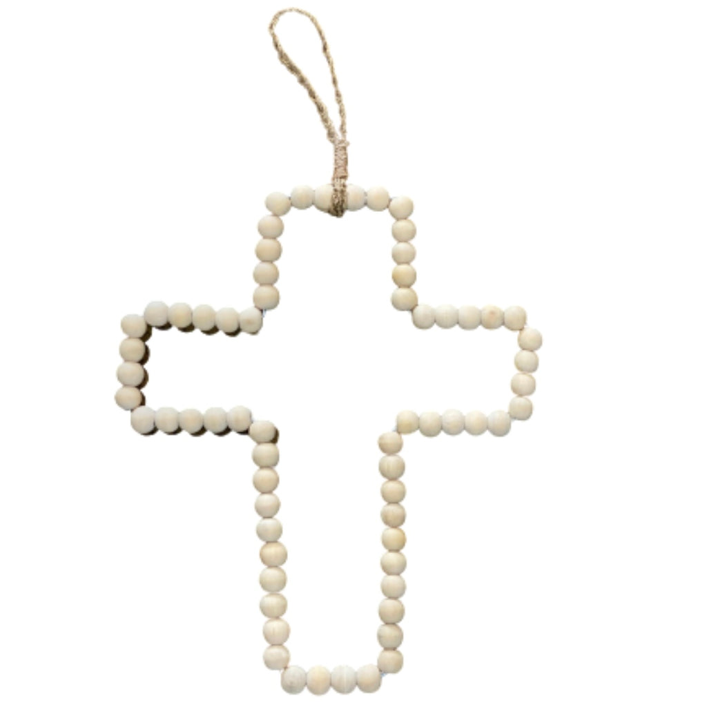 Wood Beaded Cross | Wall Hanging | Natural