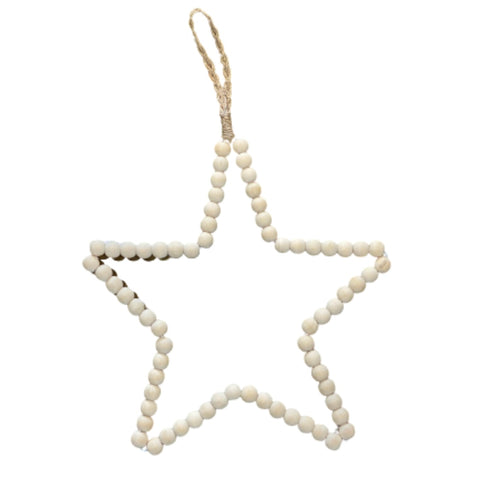 Wood Beaded Star | Wall Hanging | Natural