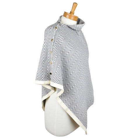 Poncho Gold Buttons | Grey