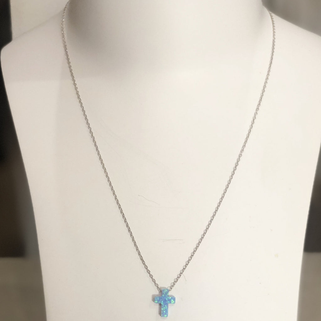 Blue Opal Cross | 925 Sterling Silver