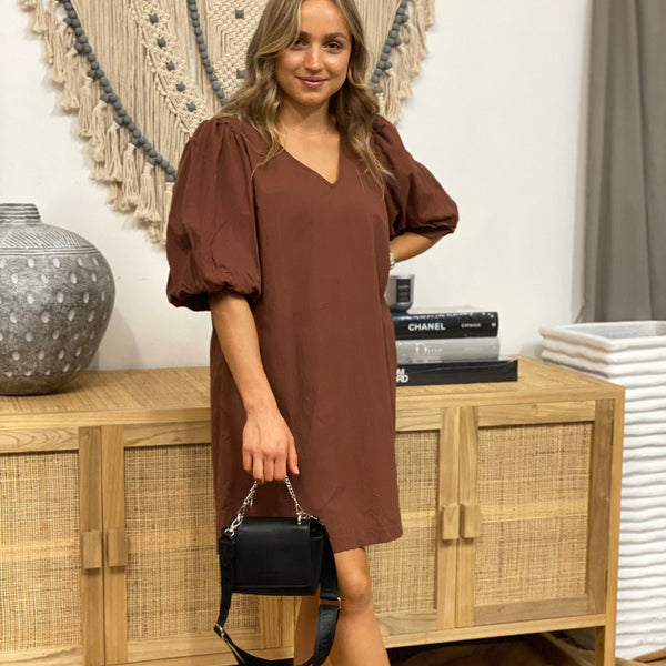 Chocolate Full Sleeve Shift Dress
