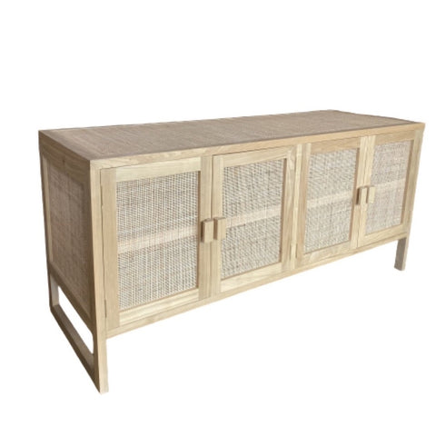Solid Wood & Rattan 4 Door Console