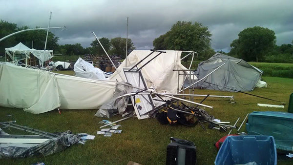Tents down