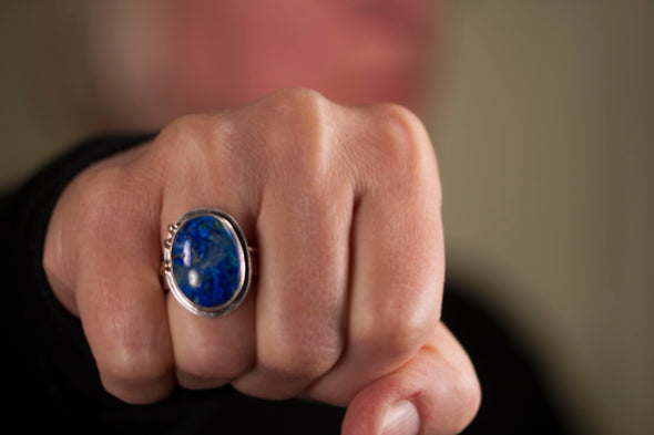 Azurite Gold Ring