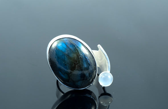 Labradorite and Moonstone Ring