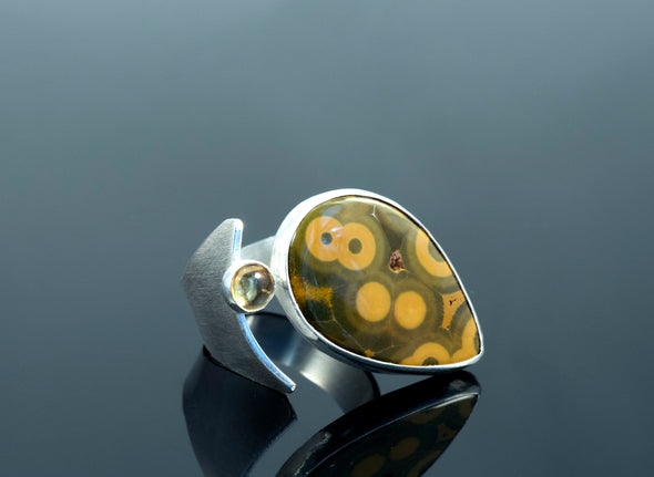 Ocean Jasper and Citrine curve ring