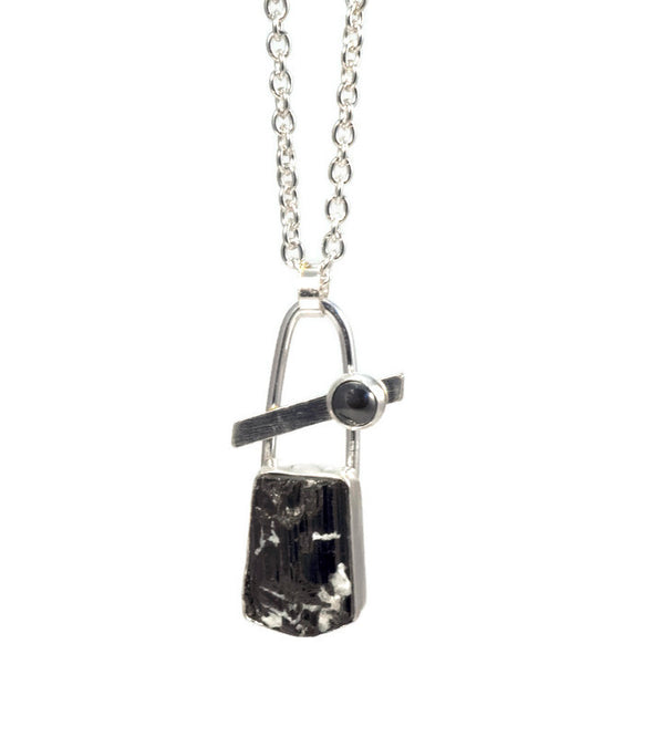Black Tourmaline and Hematite Little Necklace