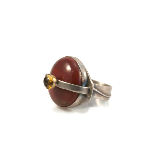 Mookaite and Citrine Ring