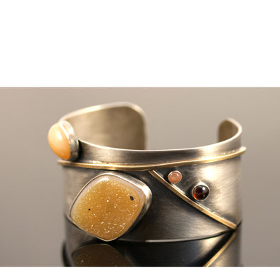 Druzy and Moonstone Cuff
