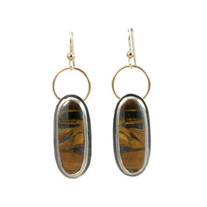 Tiger Iron and 14K Gold Earrings