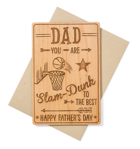 Basketball Fan Fathers Day Card Wood
