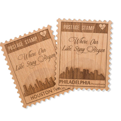 Love Postage Stamp Mini Greeting Card Wood