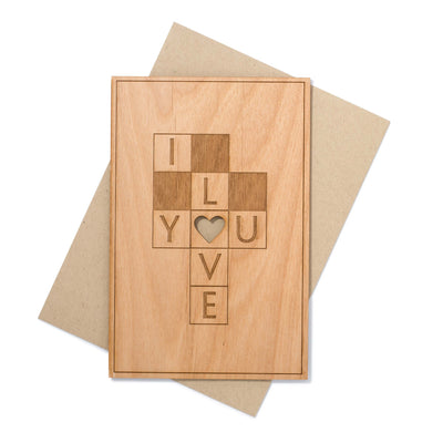 Crossword Puzzle I Love You Card