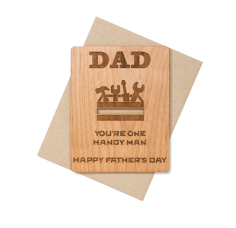 Handy Dad Father's Day Wood Card