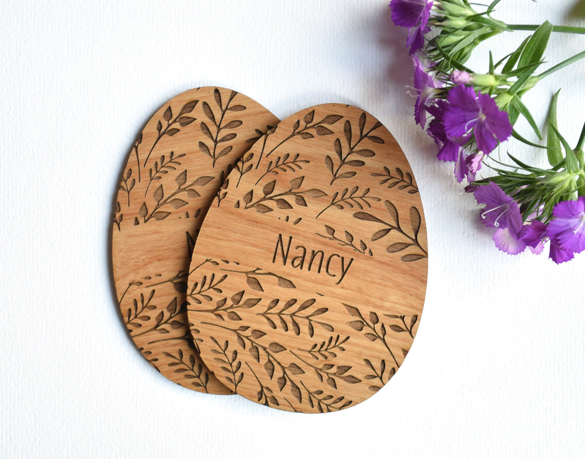 personalized floral easter egg wooden place card setting set set of