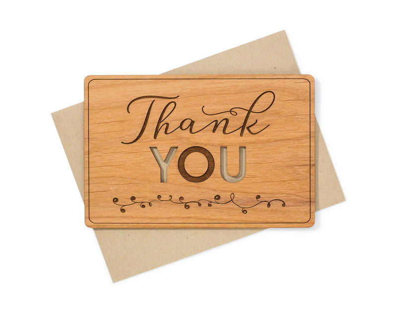 Laser Cut Thank You Wood Card