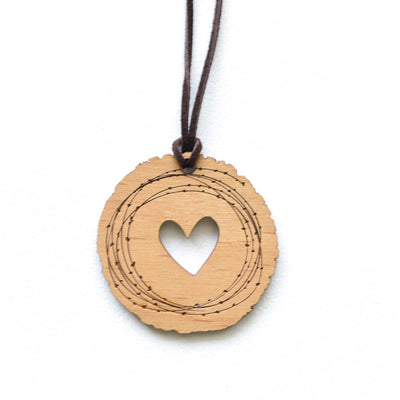Rustic Heart Real Wood Necklace