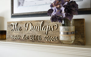 Last Name Established Sign on Reclaimed Wood