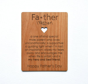 Father's Day Card Wood Card