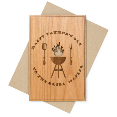 Grill Master Father's Day Wood Card