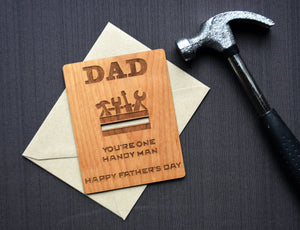 Handy Man Father's Day Wood Card