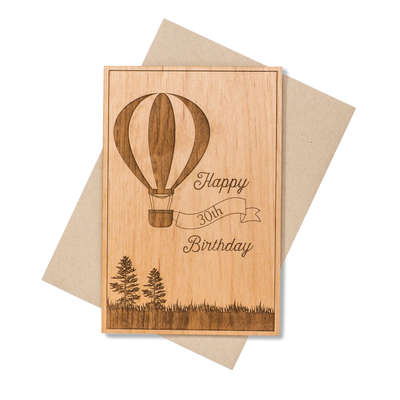 Hot Air Balloon Milestone Birthday Wood Card