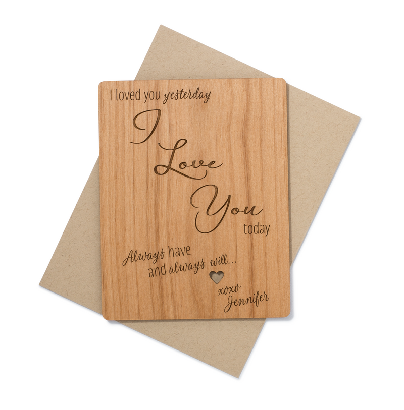 Personalized I Love You Mini Wood Card