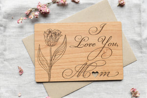 I Love You Mom Wood Card for Mother's Day