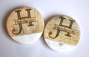 Wood and Marble Drink Coasters Set