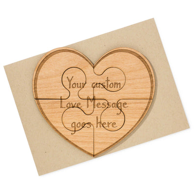 Custom Heart Shaped Puzzle Wood Card for Valentine's Day