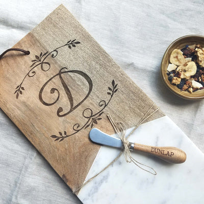 Personalized Monogram Marble Wood Serving Board with Knife