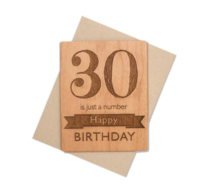 30th Birthday Wood Card by Indigo Ember