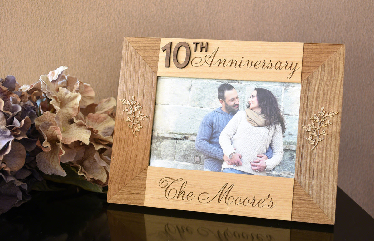 Personalized 10th Year Anniversary Milestone Wood Photo Frame Alder