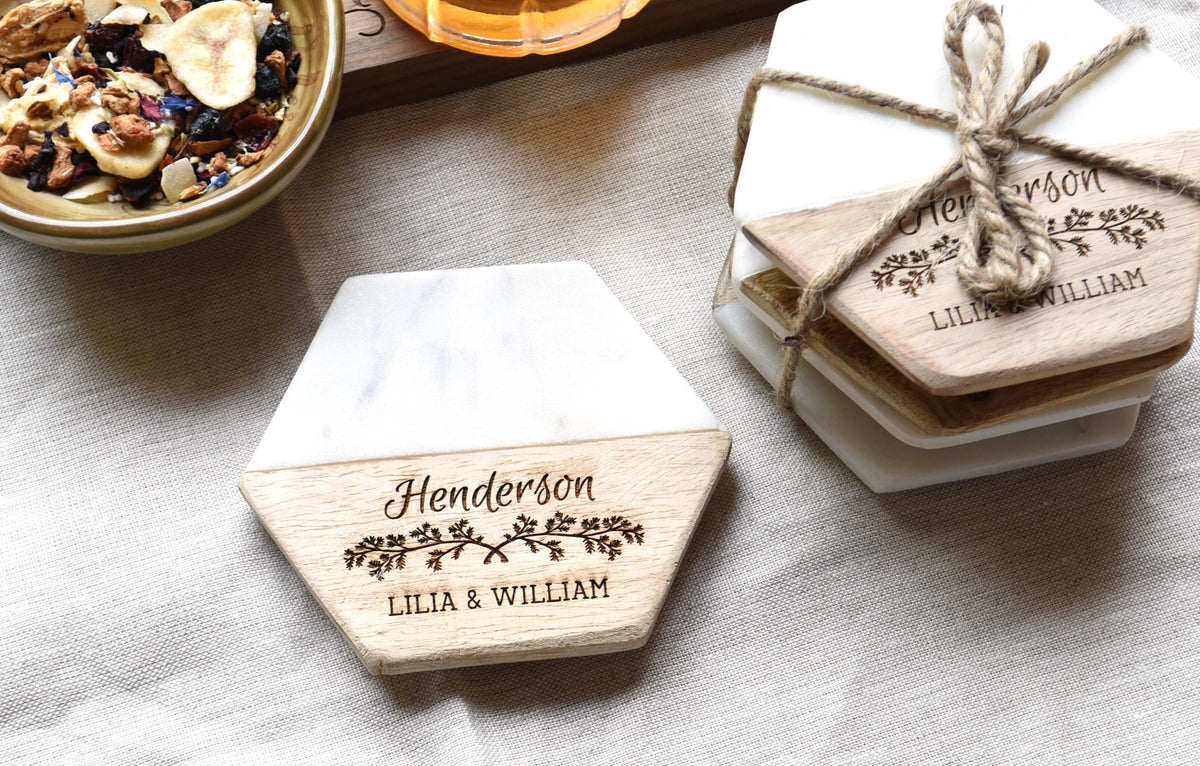Personalized Modern Hexagon Shaped Wood and Marble Drink Coasters ...