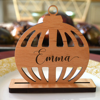 Christmas Ornament Placecards Wood with Holder