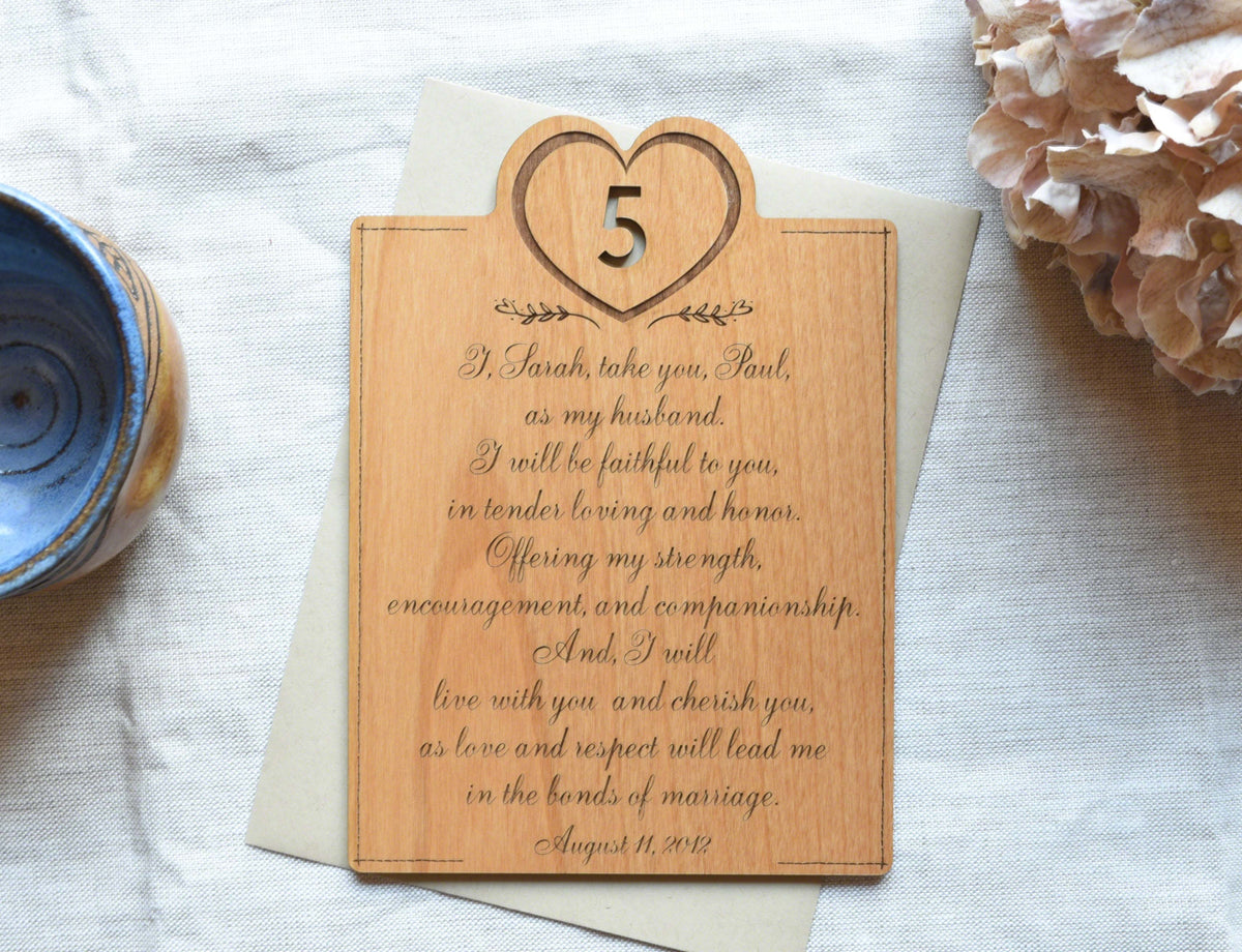 Engraving Wedding Gifts: Personalized Engraved Vows Wedding Anniversary Wood Card
