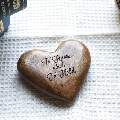 Hand Carved Wooden Heart with Message