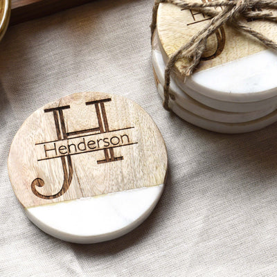 Last Name Monogram Wood Marble Drink Coasters