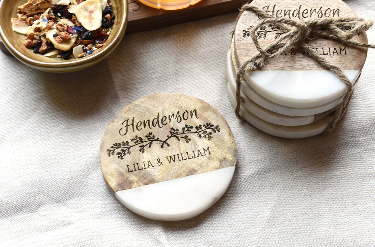Family Name Wood and Marble Coaster Set (Set of 4) – Indigo Ember
