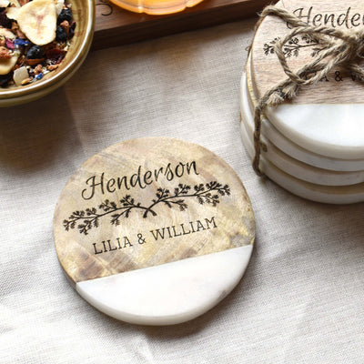 Personalized Marble Wedding Coasters
