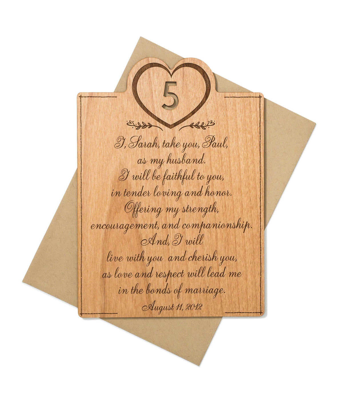 Wedding Vow Gifts for 5th Year