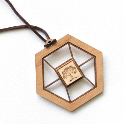 Engraved Wooden Necklace by Indigo Ember