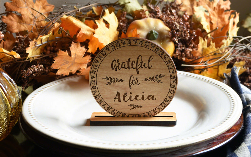 Personalized Wooden Place Cards for Thanksgiving
