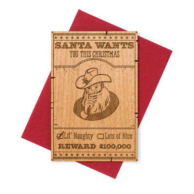 Sheriff Santa Western Theme Christmas Greeting Card Wood (Naughty)