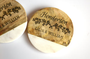 Personalized Wood and White Marble Coaster Set