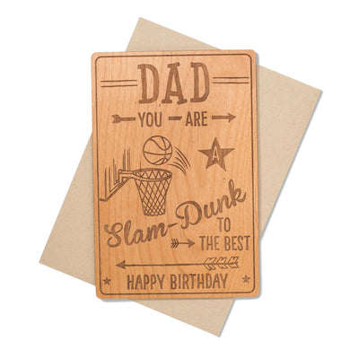 Basketball Fan Birthday Wood Card