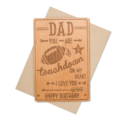 Football Fan Dad Birthday Card Wood