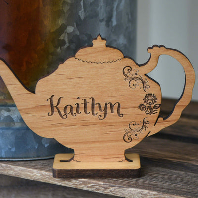 Afternoon Tea Party Name Cards Wood